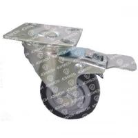 Колесо аппаратное поворотное с тормозом, мягкая резина