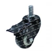 Колесо аппаратное с болтом и тормозом, черная резина